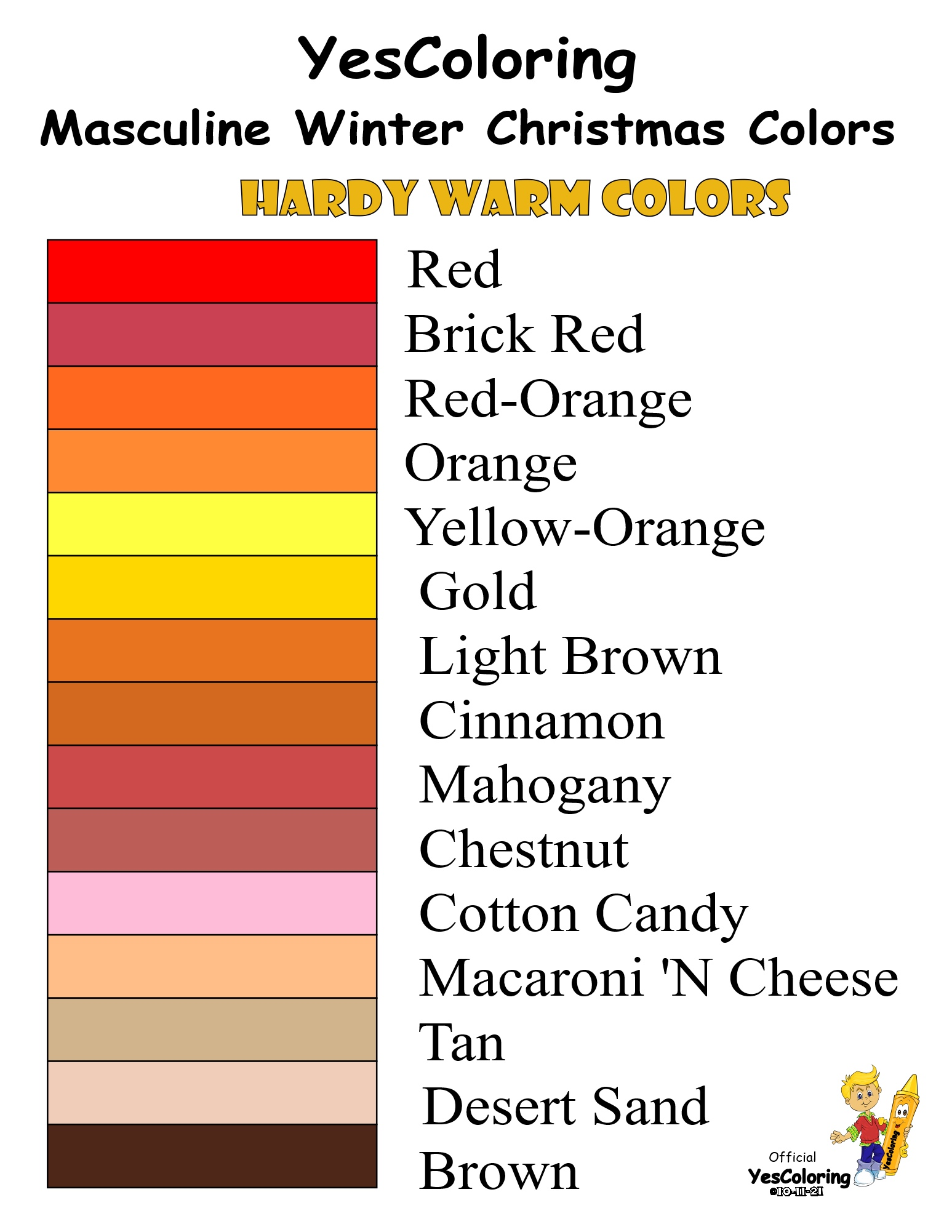 YesColoring 15 Masculine Warm Winter Christmas Colors Chart at YesColoring