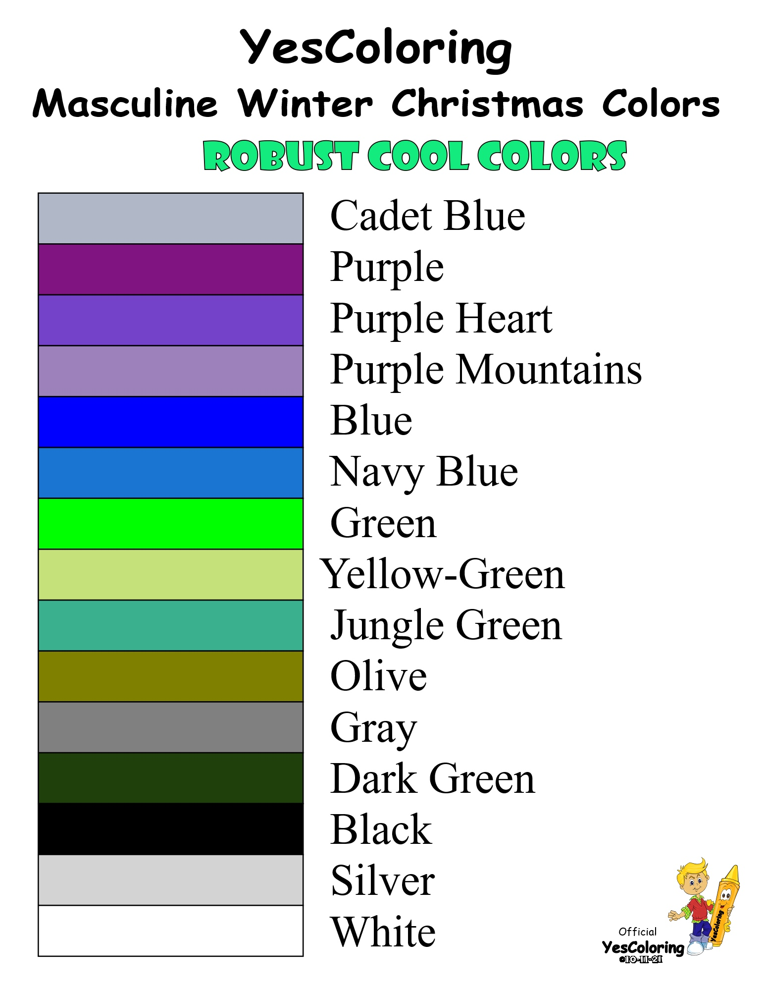 YesColoring 15 Masculine Cool Winter Christmas Colors Chart at YesColoring