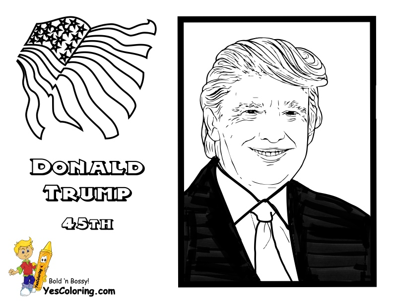 45th President Donald Trump Coloring Page at YesColoring