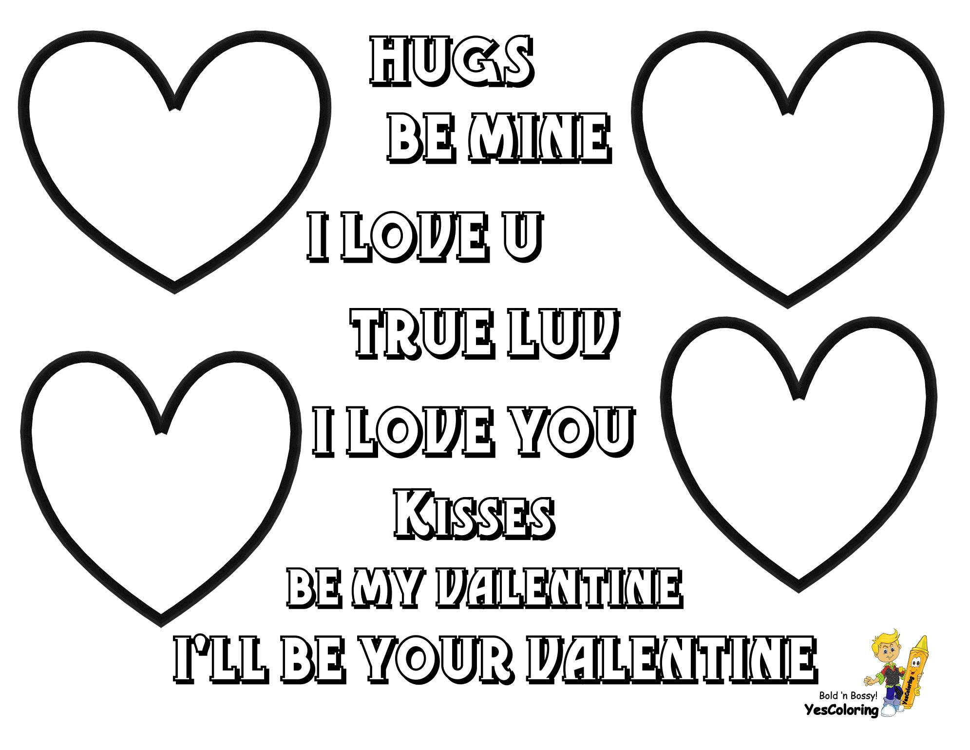 Print Out Valentines Quotes with Hearts at Yes Coloring