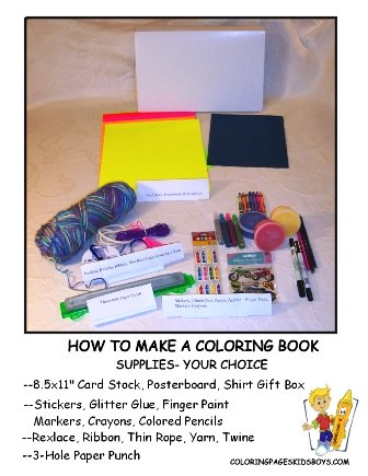 Gather Supplies- How to Make a Coloring Book at YesColoring